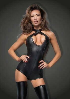 Short Power Wetlook Body With Lace Cleavage in Black by Noir - Australian Stock