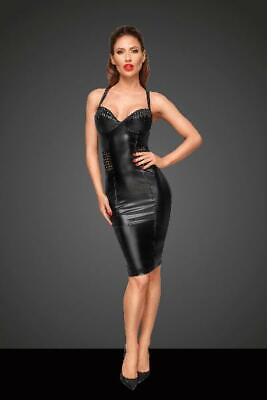 Power Wetlook Dress With Chequered Tape in Black by Noir - Australian Stock