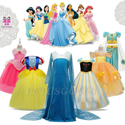 Princess Belle Elsa Snow White Costume Party Gown Dress Girls Kids Fancy Dresses