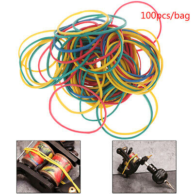 100 Pcs Elastic Rubber Colorful Bands For Tattoo Machine Gun Cord Tool SupWD