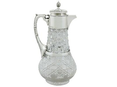 Victorian Glass and Sterling Silver Mounted Claret Jug 1890s