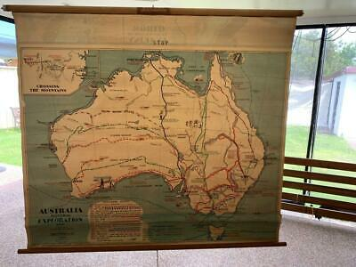 VINTAGE AUSTRALIA PICTORIAL EXPLORATION WALL MAP No. 117 By CHAS H SCALLY & Co