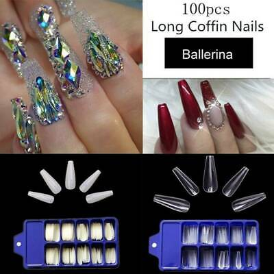 100x Artificial Nails French False Half Nail Art Tips Acrylic UV Gel Clear White