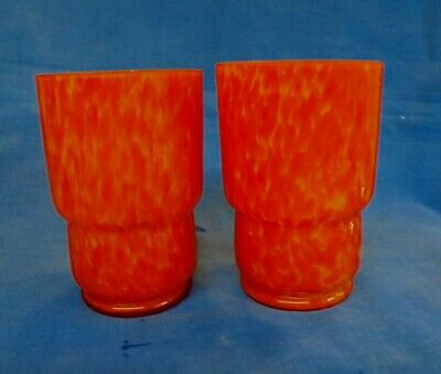 Art Deco Czech Bohemian Splatter Glass End Of Day Pair Of Tumblers Glasses.