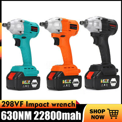 1/2'' Torque 650NM Electric Brushless Cordless Impact Wrench +2Pcs 298VF Battery