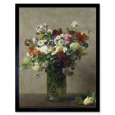 Henri Fantin Latour Flowers From Normandy Painting Wall Art Print Framed 12x16