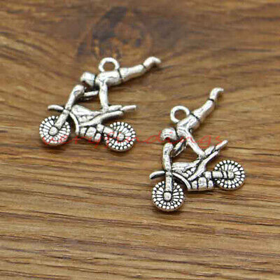 SC927 2 BMX Motorcycle Charms Antique Silver Tone Motocross Dirtbike