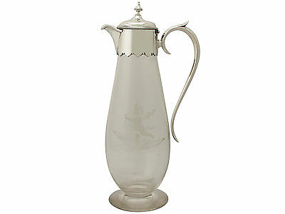 Glass and Sterling Silver Mounted Claret Jug - Antique Victorian