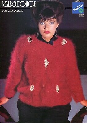 "Phildar 8604 Lady Sweater Mohair 30-36"" Vintage Knitting Pattern"