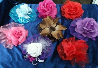Flower Hair Clip Fascinator = Wedding: Party: Occasion - Assorted Colours