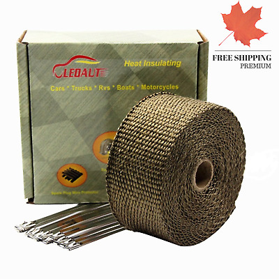 2 x 25 Titanium Exhaust Header Wrap for Motorcycle Exhaust Tape With Stainles...