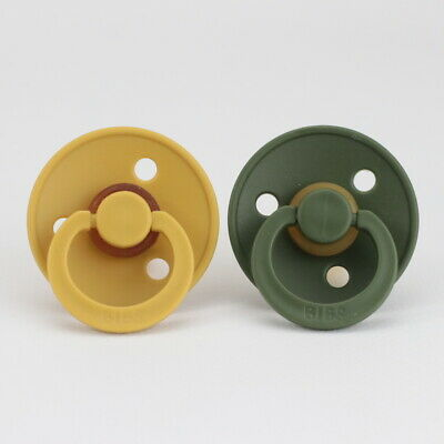 BIBS Pacifier / Dummy | 2 Pack | Mustard + Hunter Green (Size 1 or 2)