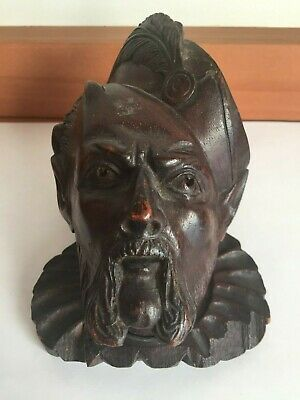 Antique Black Forest Wood Wooden Carving Pointed Eared MAN WITH PLUMED HAT