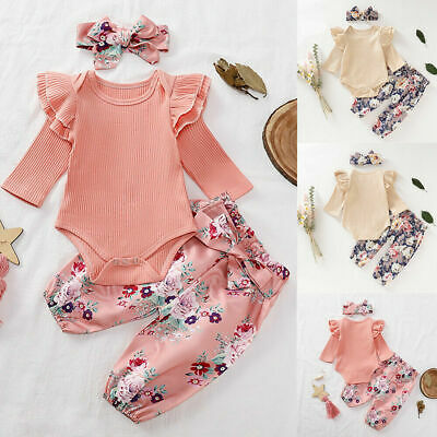 Newborn Baby Girls Clothes Romper Tops Jumpsuit Floral Pants Headband Outfit Set