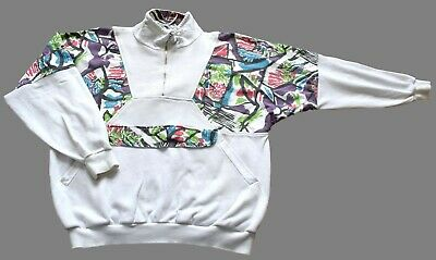 "Men's Vintage 80's White Abstract Patterned Top Retro X Large 46"" Chest"