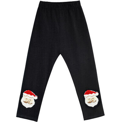 Girls Pants Leggings Black Christmas Santa Embroidered Age 2-6 Years Pageant