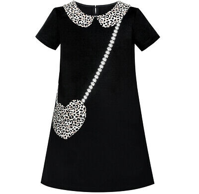 Girls Dress Casual Short Sleeve Leopard Collar Heart Pocket Bag Age 5-10 Years