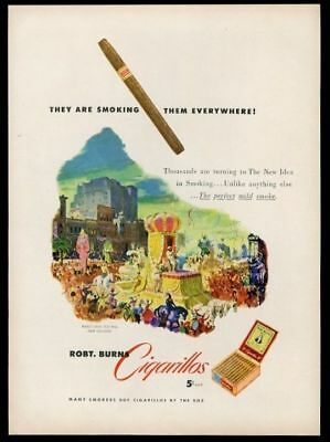 1950 New Orleans Mardi Gras parade float Robt Burns Cigarillos cigar print ad