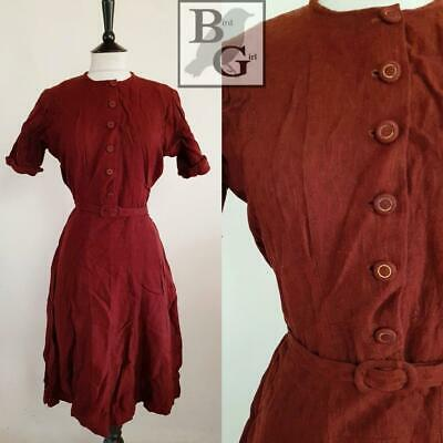Wartime Original Ww2 1940S Vintage Brown Landgirl Wren Day Dress 12 M