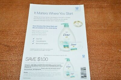 Baby Dove sensitive Skin Soap Wash Body 50 Coupons $1 off each $50 value