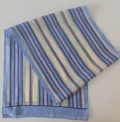 100% Silk Echo Designer Scarf Blue Navy Cream Grey Purple Stripe Made in Japan