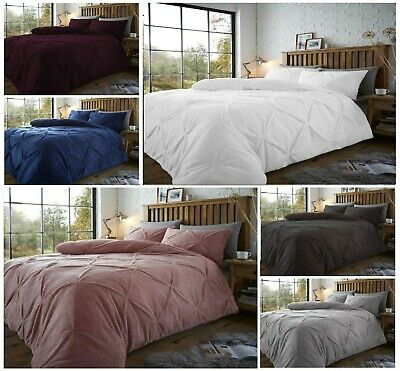 Luxury Madison Pinch Pleat Pintuck Teddy Bear Fleece Sherpa  Duvet Cover Bed Set