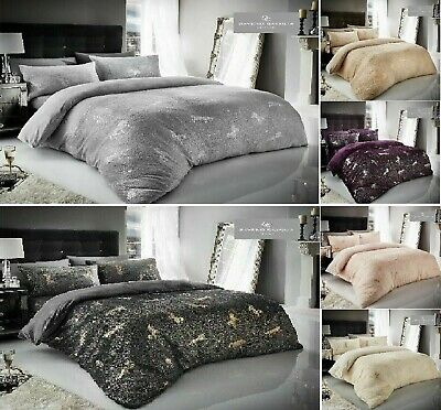 Christmas Unicorn Star Foil Teddy Bear Sherpa  Duvet Cover Pillowcase Bed Set
