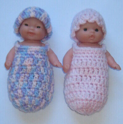 """2 sleep cocoons & 2 hats sized to fit 5"""" Berenguer dolls Handmade New"""