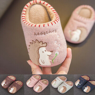 Cute Toddler Infant Boys Girls Fluffy Little Kids Shoes Warm Animal Home Slipper