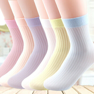 10Pairs/Set Boys Girls Candy Color Socks Thicken Stripe Elastic Over Ankle Socks