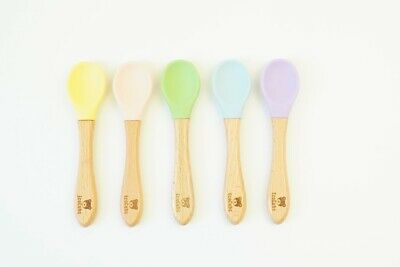 EcoCubs ~ Set of 5 Baby Spoons ~ Beechwood & Silicone ~ Great for teething.