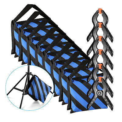 Neewer 8-Pack Heavy Duty Sandbag (Blue/Black) with 6-Pack Spring Clamp Clips