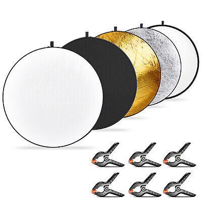 Neewer 5-in-1 Collapsible Multi-Disc Light Reflector 11.8 inch and 6-Pack Clamps