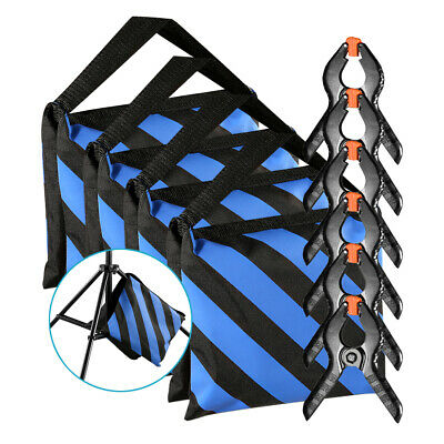 Neewer 4pcs Blue/Black Sandbag with 6 Backdrop Spring Clamps for Light Stands