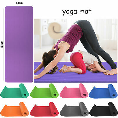 Thick Yoga Mat 12mm/15mm Exercise Gym Pilates Sports Fitness Cardio NBR Mat