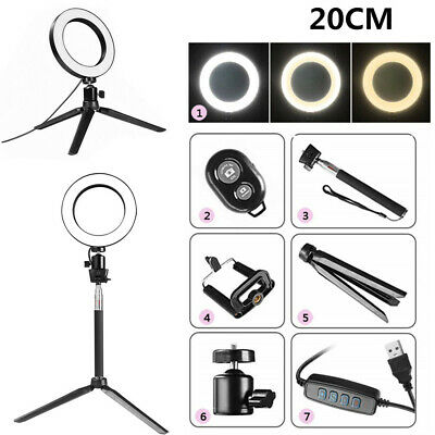 8'' LED Ring Light Kit Stand Dimmable 5500K Selfie For Camera Makeup Phone HH