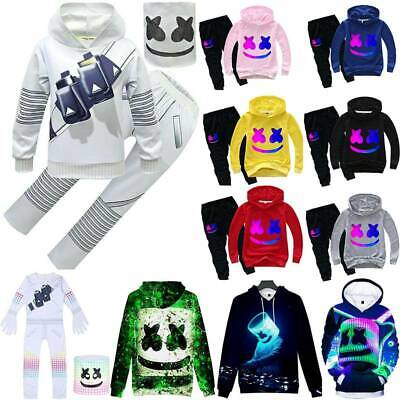 DJ Marshmallow Cosplay Kids Jumpsuit Mask Hoodie Pullover Tops Pants Outfit Set