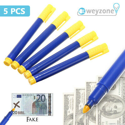 5X Money Tester Pens Counterfeit Forged Fake Detector Marker Bank Note Checker
