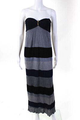 MLH Womens Strapless Sweetheart A-Line Casual Striped Maxi Dress Blue Size XS