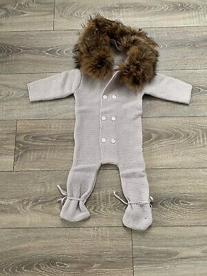 Baby's Raccoon Fur Trim Knitted Snow Suite 0-6 Months New