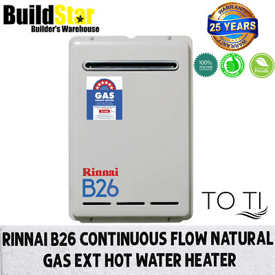 Rinnai B26 Continuous Flow Natural Gas Ext Hot Water Heater Preset to 60ºC