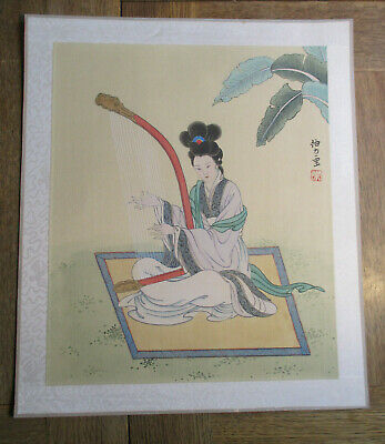 A..Old Hand Painted on Silk Asian  ,China,Japan, Asia Scroll Oriental Japanese