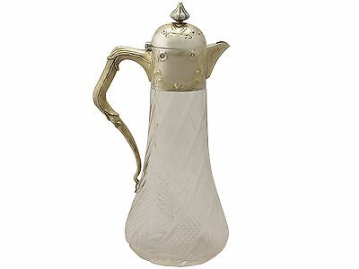 German Cut Glass and Silver Mounted Claret Jug - Antique Circa 1890