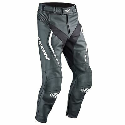 Ixon Fighter Leather Motorcycle Bike Riding Pants Trousers Black / White