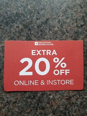 Mountain warehouse 20% off voucher in store or online with **NO POSTAGE COST**
