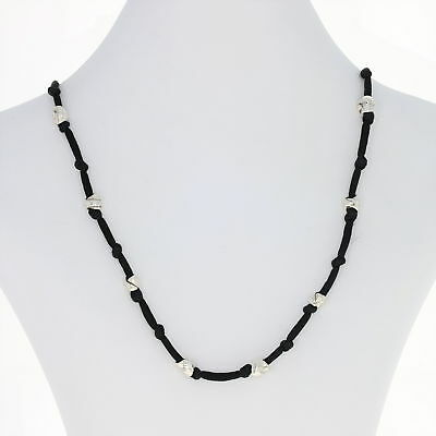 """Tiffany & Co. Knotted Black Silk Necklace 29"""" - Sterling Silver Toggle Designer"""