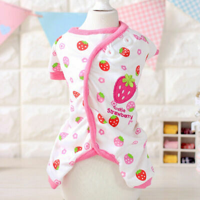 Embroidery Cat Dog Pajamas Apparel Puppy Jumpsuit Soft Cotton Small Pet Clothes