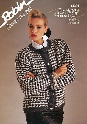 "Robin 14291 Lady Jacket Chunky 30-40"" Vintage Knitting Pattern"