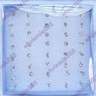 20Pairs 2mm Women Charms Clear Crystal Rhinestone Stud Earrings Jewellery Gifts