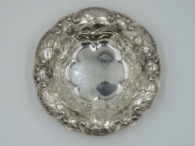 Antique Circa 1900 Whiting Sterling Silver Hibiscus Bon Bon Nut or Candy Bowl